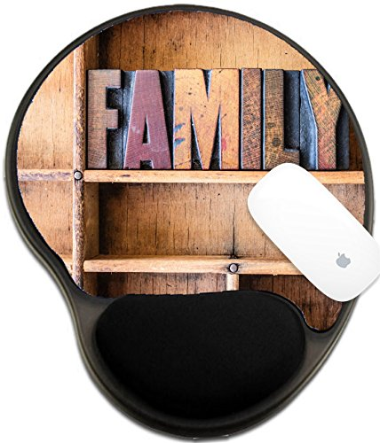 Word Family Words Mats (Luxlady Mousepad wrist protected Mouse Pads/Mat with wrist support design IMAGE ID: 40232696 The word FAMILY written in vintage wooden letterpress type in a wooden type drawer)