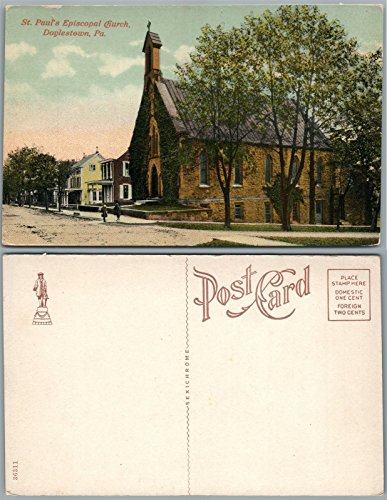 DOYLESTOWN PA BUCKS COUNTY ST.PAUL EPISCOPAL CHURCH ANTIQUE POSTCARD