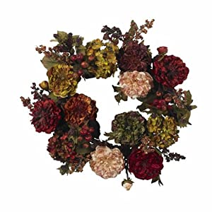 Nearly Natural 4911 Autumn Hydrangea Peony Wreath, 22-Inch, Red 115