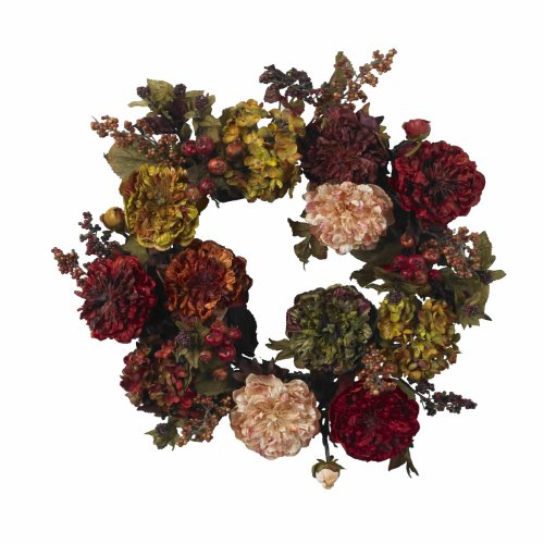 Nearly Natural 4911 Autumn Hydrangea Peony Wreath, 22-Inch, Red (Fall Door Sale Wreaths)