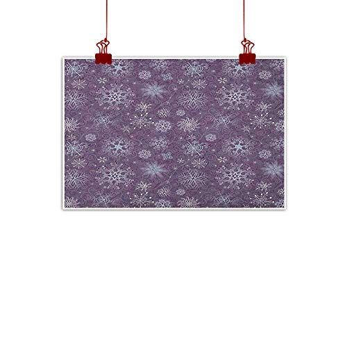 Sunset glow Art Poster Print Eggplant,Christmas Inspired Cute Flowers Snowflakes and Swirls in a Violet Delicate Environment, Violet 24