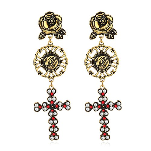 MChome11 Vintage Women Earrings Rhinestone Flower Pattern Hollow Design Cross Pendant Party Dinner Dating Jewelry Antique Gold