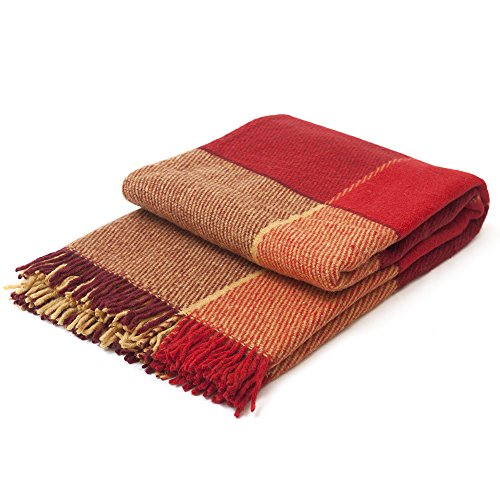 Luxury Wool Blanket Cozy Fall and Winter Days –Burgandy Tartan Plaid