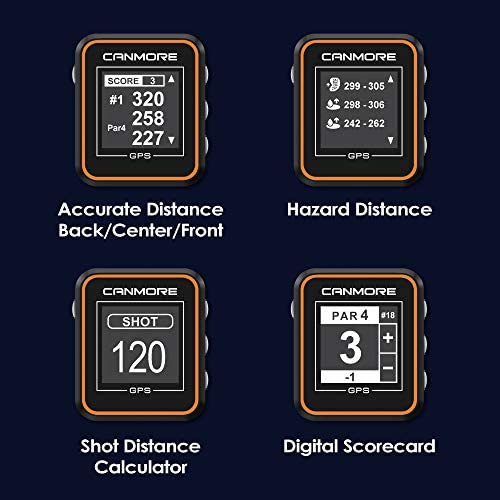 CANMORE H-300 Handheld Golf GPS – Essential Golf Course Data and Score Sheet – Minimalist User Friendly – 38,000 Free Courses Worldwide and Growing – 4ATM Waterproof – 1-Year Warranty Orange