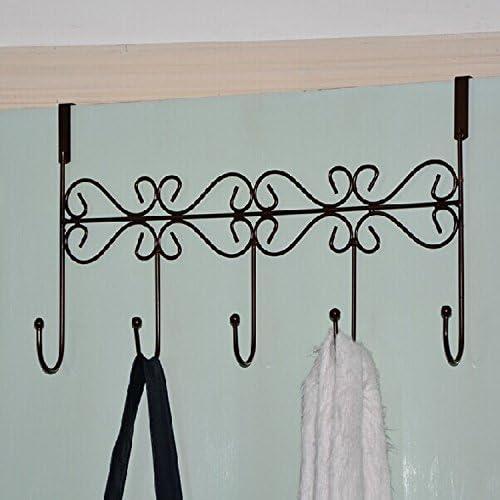 Hat Clothes Coat Towel Bag Over Door Bathroom Hanger Hanging Rack Holder 5 Hooks