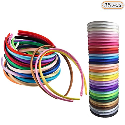 Hisight Girls headbands Value Pack 1cm Wide Satin Covered 36 cm Perimeter Hair Accessories For Baby Girls Todder Children DIY Craft ( 35colors Each Color 1pcs Per Pack) (Color mixing) -