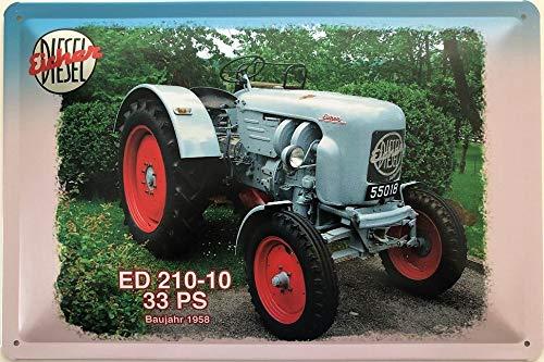 Deko7 Blechschild 30 x 20 cm Eicher Traktor ED 210-10 33 PS Baujahr 1958