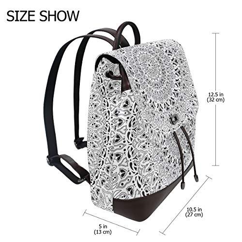 Kvinnor PU-läder tropisk mandala svart vit ryggsäck handväska resa skola axelväska ledig dagväska