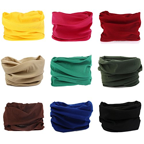 Silk Winter Neck Scarf - Godspeed Headwear, Headwrap 9-Pack Headband & Bandanna 16-in-1 Multifunctional Telescopic Seamless Scarf Facemask For Outdoor Leisure Activities