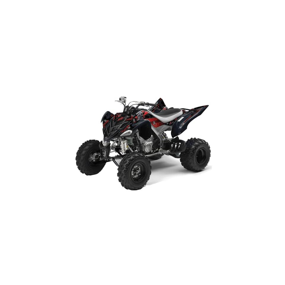 AMR Racing Yamaha Raptor 700 ATV Quad Graphic Kit   Toxicity Black, Red