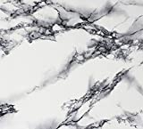 "White Black Veined Marble Gloss Vinyl Architectural Wrap for Home Office Furniture Wallpaper Tile Sheet 6.5ft x 15.9"" Roll (6.5ft x 15.9"" 1 roll)"