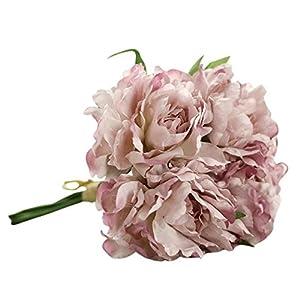 Celine lin Artificial Silk Fake 5 Heads Flower Bunch Bouquet Home Hotel Wedding Party Garden Floral Decor Peony,Roman violet 10