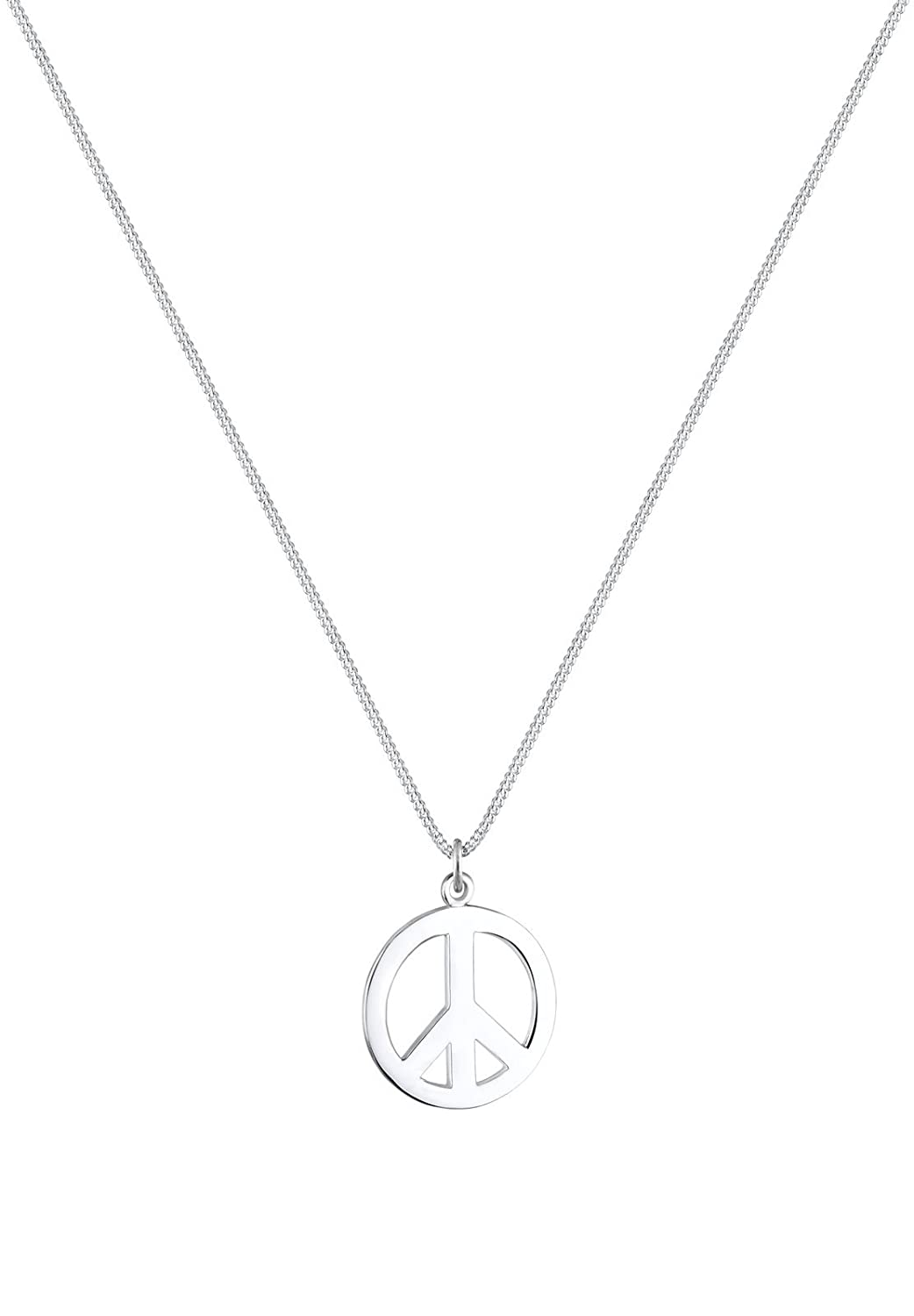 Elli Women 925 Sterling Silver Peace Sign Necklace of 45cm 01503473 48vjF58