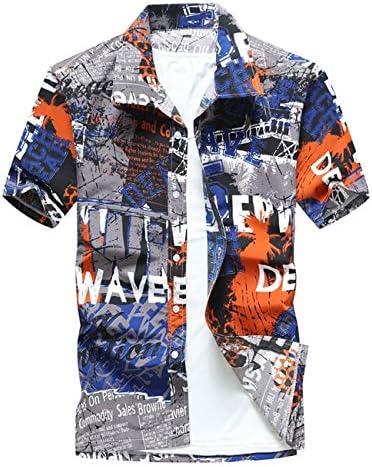 LFNANYI Estampado de Palmeras Camisa Hawaiana Hombres Moda Verano Camisa de Manga Corta Hombres Casual Vacation Tops Camisas para Hombres: Amazon.es: Deportes y aire libre