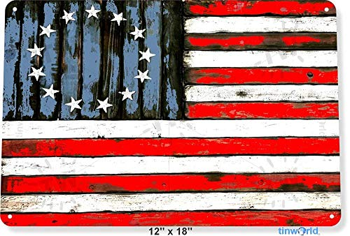 "Used, TIN Sign 12"" x 18"" Bicentennial American Flag Rustic for sale  Delivered anywhere in USA"