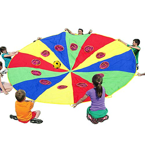 (Sonyabecca Parachute 12 Foot for Kids with 12 Handles and Holes,Play Parachute Tent Outdoor Games Activities)