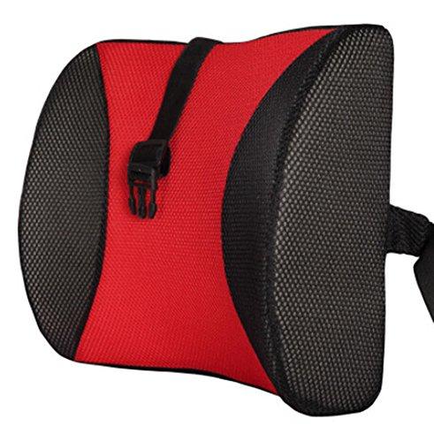 Moyishi Cool Black and Red High Resilient Memory Foam Seat Back Lumbar Cushion Support Pillow Car Office Chair Back Support (Pillow Support Sacral Lumbar)