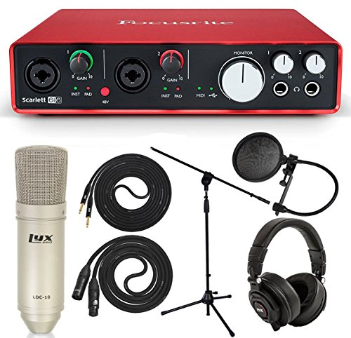 Full Studio - Focusrite Scarlett 6i6 Audio Interface Full Studio Bundle w/Pro Tools | First Software, Headphones, Microphone w/Cable, Pop Filter, Mic Stand, TS Instrument Cable