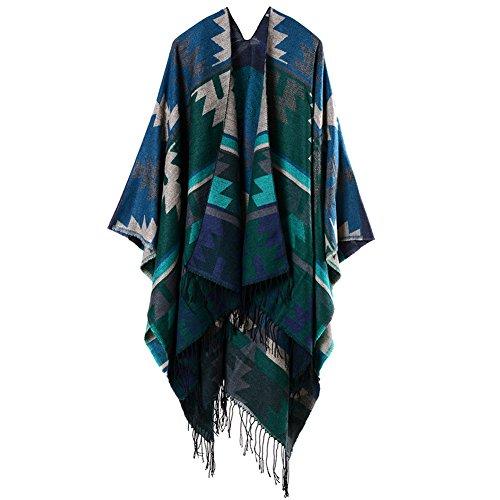 Honeyhome Indian Geometric Fringed Women Cashmere Cloak Women Travel Shawl-Green