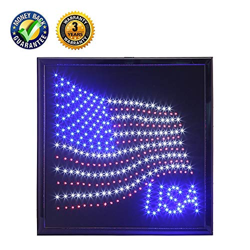 anrookie LED American Flag Sign, (19x19inch 110v On/Off withChain) American Flag LED Lighted Sign Animated Mode,for Walls, Window, Shop,Party,Grand Festival ... ()