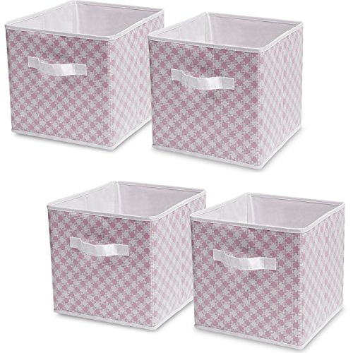 Delta Children 4-Pack Deluxe Water-Resistant Storage Cubes, Gingham/Pink