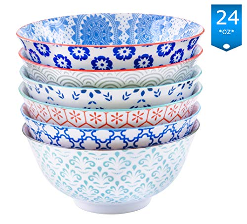 Ceramic Porcelain Bowls - Gulee 24 Ounce Premium Porcelain Bowls Set - Great for Cereal, Soup, Salad, Rice or Pasta - 6 Vibrant Designs - Large Capacity - Heat and Cold Resistant Ceramic - Dishwasher and Microwave Safe