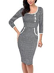 VfEmage Womens Elegant Vintage Polka Dot Button Wear to Work Casual Dress 2932 TAT 18