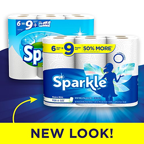 Sparkle 6 Giant Rolls, 6=9 Rolls, Pick-a-Size, White