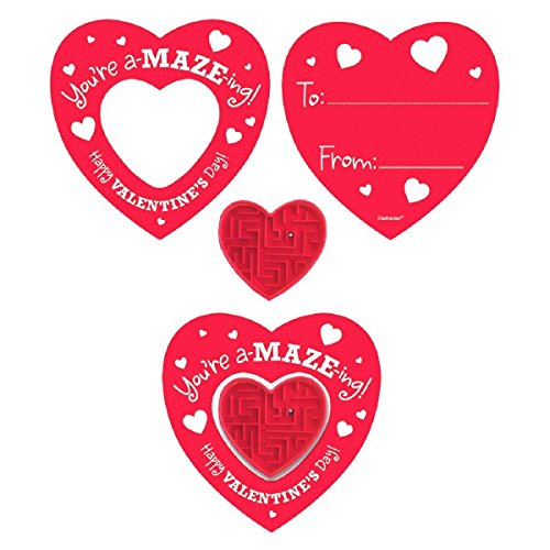 Heart Valentines with Maze Puzzles - 12 Pack