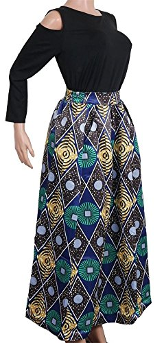 Print Floral African Green Skirt Line VLUNT A Two Maxi Women's Pockets Dress Long Pieces Uxt5Z