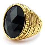 KONOV Mens Crystal Stainless Steel Ring, Classic Oval, Black Gold