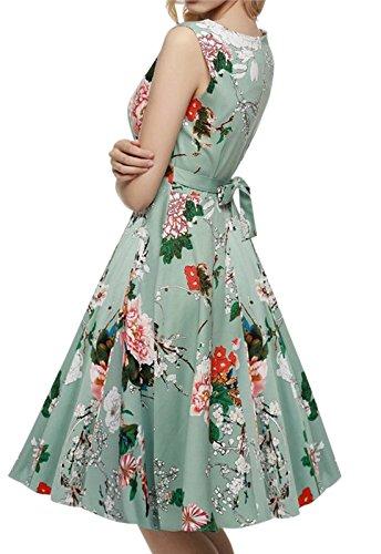 erdbeerloft - Damen Ärmelloses Midikleid mit Taillenschnürung, Pastellgrün, XS-XL