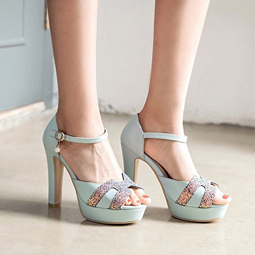 Charm Foot Womens Elegant Platform Sequins Buckle High Heels Sandals Blue qcr9x