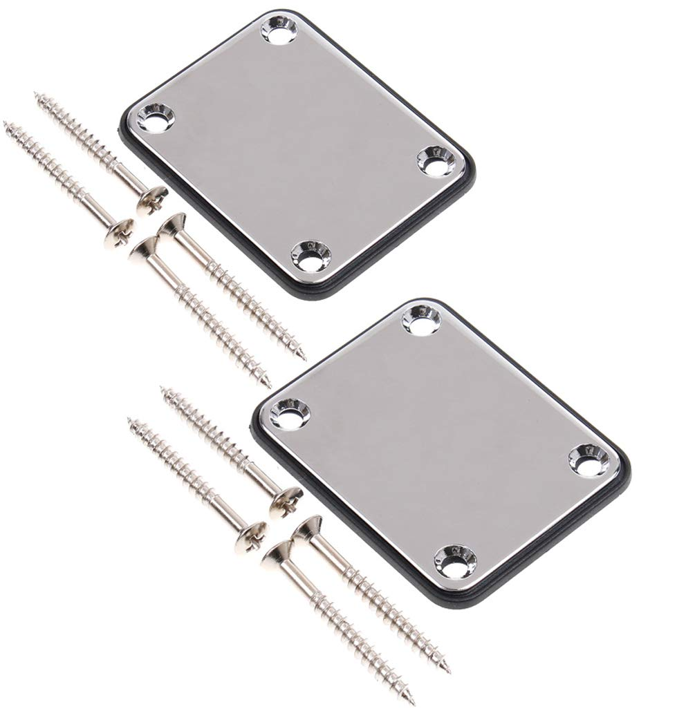2 Pack Guitar Metal Neck Plates with Plastic Mat for Strat Tele Style Electric Guitar Replacement, Chrome