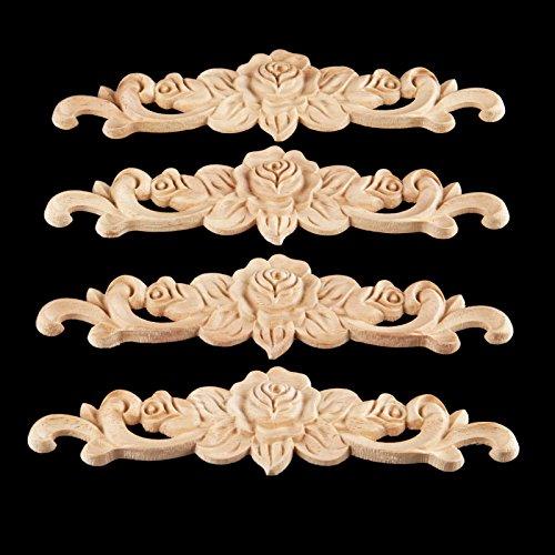 MUXSAM 4pcs 20x5cm Wood Carved Long Onlay Applique Unpainted Rose Flower Door Home Decor European Style