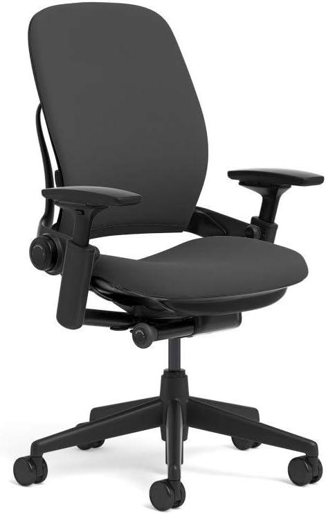 Steelcase Leap Task Chair: Black Base - 4D Adjustable Arms - No Headrest - Standard Carpet Casters (Renewed)