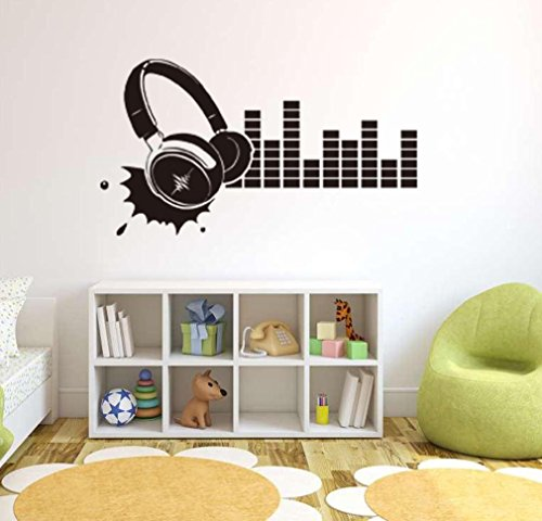 BIBITIME Recording Room Voice Frequency Silhouette Sticker Vinyl Headphone Wall Decal Decor for KTV Background Living Room Sofa Decoration Nursery Bedroom Art Mural