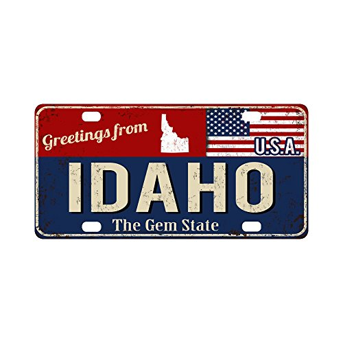Idaho License Plate - InterestPrint Greetings from Idaho Rusty Metal Sign with American Flag Car Decor Metal License Tag Plate for Woman Man - 12