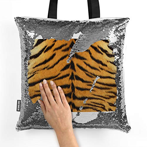NEONBLOND Mermaid Tote Handbag Tiger fur Reversible Sequin