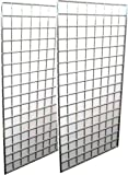 2-Pack Wire Grid Panel Display, 2 x 5 ft - 3'' On Center. Chrome.