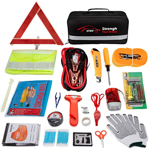 - STDY Auto Emergency Kit, Car Roadside Assistance Emergency Kit 57-in-1 Car Safety Kit+Tow Rope,Jumper Cables, Tire Pressure Gauge,Triangle etc,Great for Car,Truck Or SUV Multifunctional Assistance