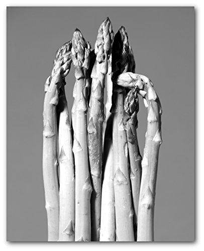 Asparagus Print, Black and White Kitchen Art, 8 x 10 Inches, Unframed