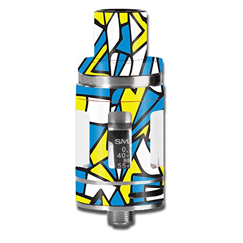 (Skin Decal Vinyl Wrap for Smok TFV8 Micro Baby Beast mini Tank Vape stickers skins cover / Stained Glass Abstract Blue Yellow)