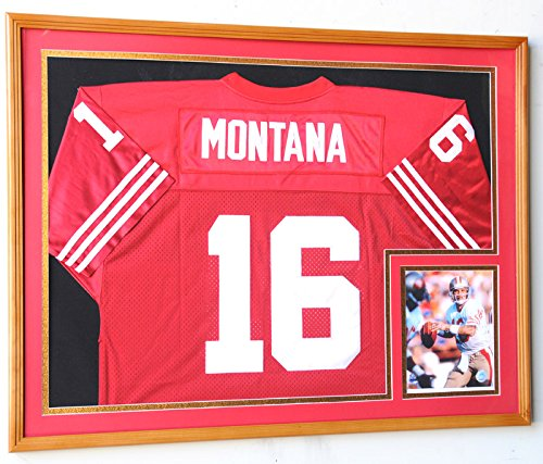 XL Double Matted Custom Framed Jersey Display Case Frame w/98% UV Protection (Oak Finish, Red Background) ()