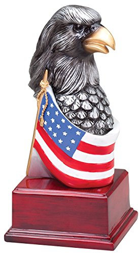 Etch Workz Customize Rosewood Finish Base Trophy - Silver Eagle Head with Flag High Relief Sculpture AE308 Series American Eagle Award - Gold Plated - Engraved & Personalized - Silver Flag Eagle