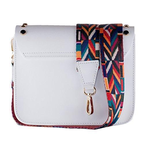 BORDERLINE - 100% Made in Italy - Mujer bolso de cuero con tachuelas y pequeña correa de hombro de colores - ARIANNA Blanco