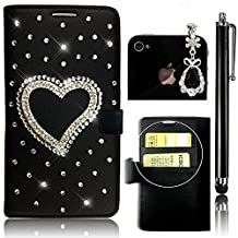 Sunroyal Samsung Galaxy S6 Edge G9250 SM-G925 Leather Case [ not for Samsung GalaxyS6 Edge Plus ] Phone Case Premium PU Leather Purse Wallet Folding Flip Folio Case Protection Soft TPU Back Case Cover in Book Style Shiny Sparkling Glitter Bling Rhinestone Diamond Crystal Shell Skin Case Cover with Magnetic Closure [ Card Slots ] [Stand Function ] + 1x Bling Glitter Crystal Rhinestone Diamond Pendant Anti Dust Plug + 1x Metal Stylus Touch Pen ,Black Bottom Heart Pattern Case