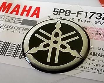 100 GENUINE 25mm Durchmesser YAMAHA STIMMGABEL Aufkleber Sticker Emblem Logo Silber Schwarz Erhoht Gewolbt