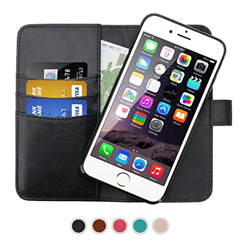 SHANSHUI Wallet Case Compatible with iPhone 6/6s, iPhone 7 and iPhone 8, Premium PU Leather RFID Blocking Magnetic Detachable Folio Flip Cover Card Slot Cash Pocket -Black 4.7