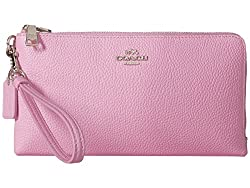 COACH Women's Polished Pebbled Leather Double Zip Wallet SV/Marshmallow Clutch